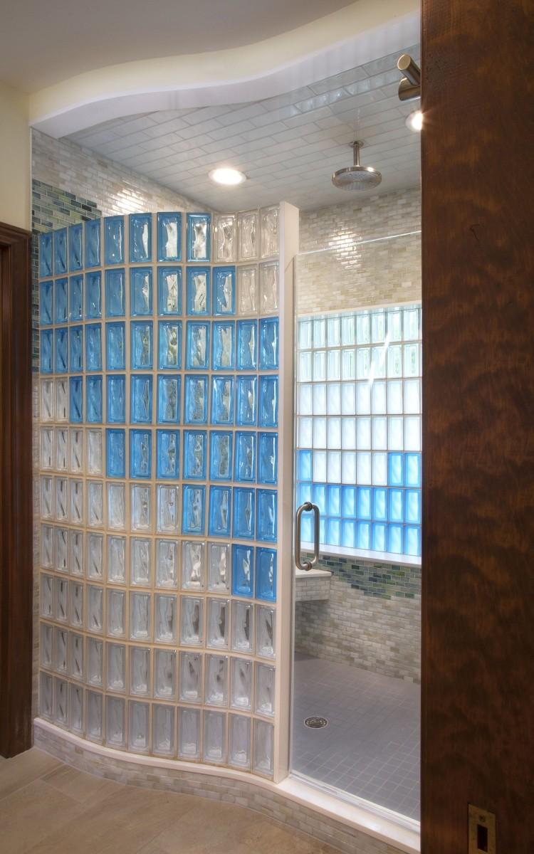 Shower walls · exterior walls · interior partition walls glass block bars